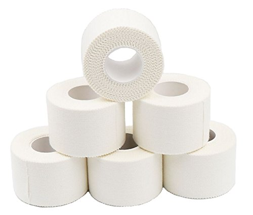 HealthStar White Athletic Tape 1.5 In X 8 YD for Muscle Support, Joint Protection & Compression Therapy (6 Pack)