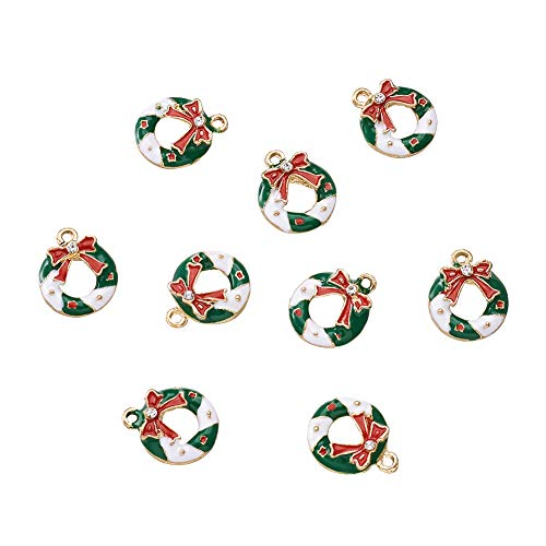 Holiday Charm Necklace - Craftdady 10Pcs Christmas Wreath Alloy Enamel Charms 19x16mm DIY Jewelry Necklace Earring Bracelet Christmas Gifts Decoration Craft Making Hanging Pendants
