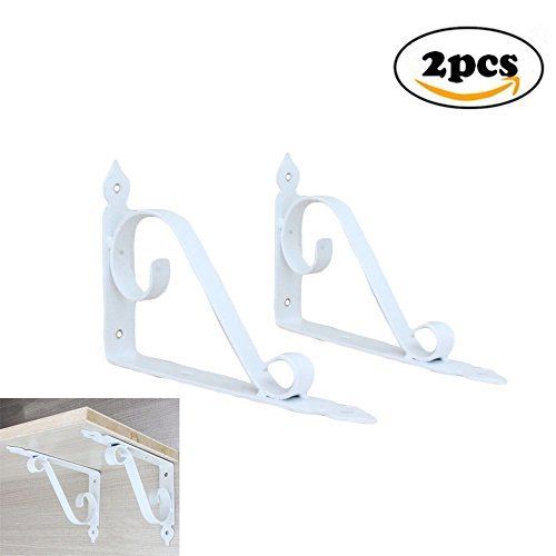 Dproptel 2 Packs All-in-1 Cast Iron Heavy Duty Corner Brackets Shelf Bracket Decorative Garden Pots Hooks Mail Box Bracket Wall Hanging with Screws (200x126MM,White) - 126 Elegant Wall