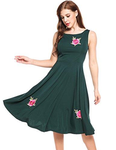 Acevog Femmes Des Années 1950 Sans Manches Robes Swing Cru Robe De Cocktail Vert Fête