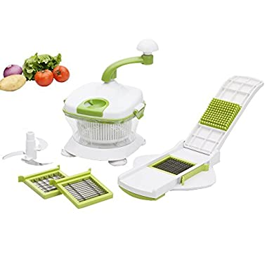 Foho Manual Food Processor, Salsa Mixer Maker, Spinner, Chop, Blend, Whip, Slice, Shred, Julienne & Juice