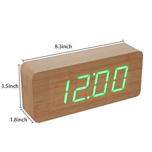 Smart Wooden Digital Alarm Clock, SHOULDBUY 8-Inches Sound Control With Time Temperature (Bamboo-Green LED) by shouldbuy (Image #2)