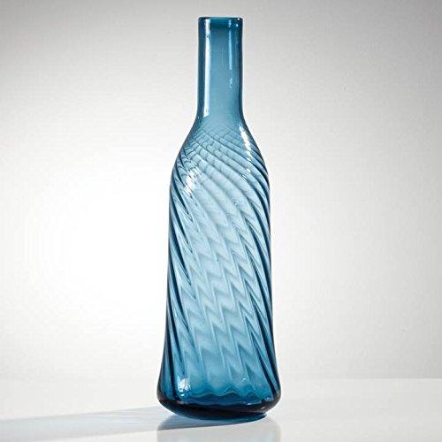 Bell Bottom Glass - Torre & Tagus 902273B Bellbottom Swirl Short Glass Vase, Tall, Ink Blue