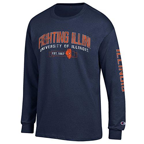 (NCAA Illinois Illini Men's Champion Men's Fair Catch Long sleeve T-Shirt, Medium, Navy)
