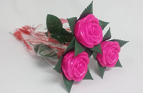 12 Piece Deco Pack - LED Light-up, Flashing, Color Changing Roses - -