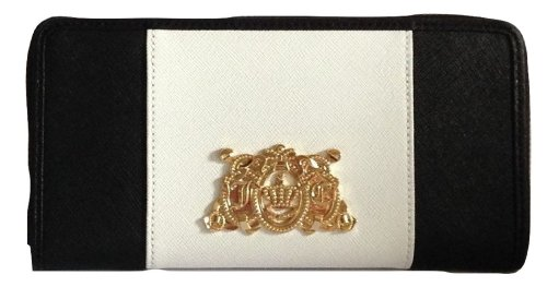 Juicy Couture YSRUS084 Dual Color Zip Wallet (Black White) (Juicy Couture Wallets For Women)