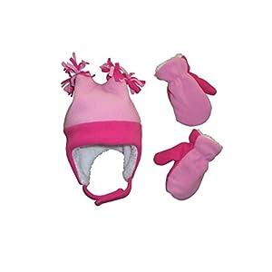 N'Ice Caps Little Girls and Baby 4 Corner Sherpa Lined Fleece Snow Hat Mitten Set