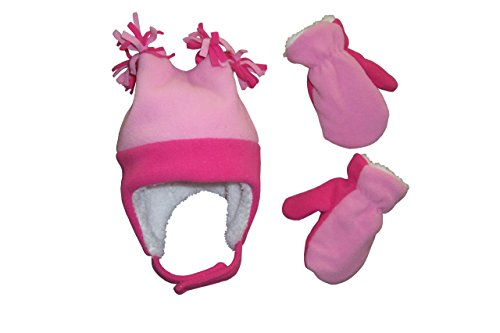 N'ice Caps Girls 4 Corner Sherpa Lined Fleece Hat and Mitten Set (2-3yrs, fuchsia/pink)