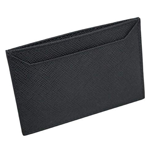 (Prada Black Nero Saffiano Men's Leather Wallet Credit Card Holder Case Bill 2MC208)
