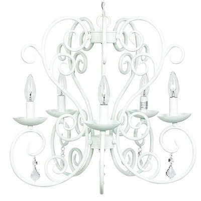Jubilee Collection 75502 5 Arm Carriage Chandelier, White Jubilee Lighting 5 Arm