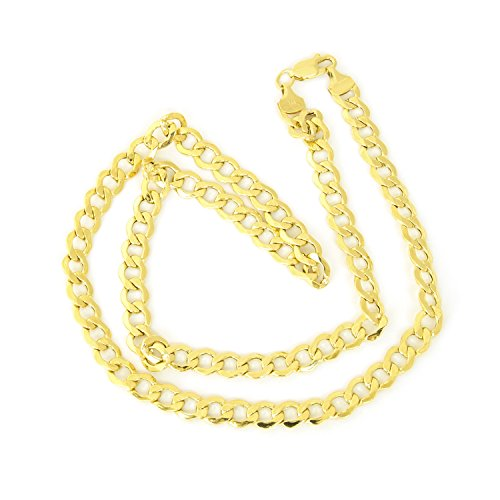 Men's 14k Yellow Gold Hollow Links 6.2mm Curb Chain Necklace, 22'' by Beauniq