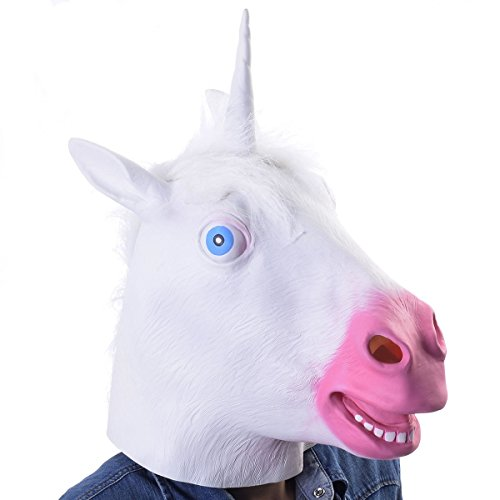 Animal Costume Latex Head Mask - Unicorn Horse Prop Animal Cosplay - Creepy Halloween Christmas Costume Party - Full Face Realistic Evil Unicorn White]()