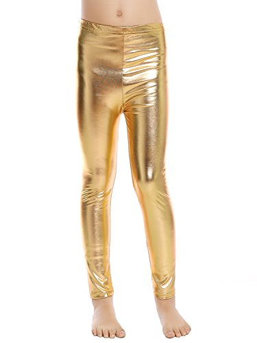 Aaronano Little Girls' Metallic Color Shiny Stretch Leggings Size M(4T-5T) Gold