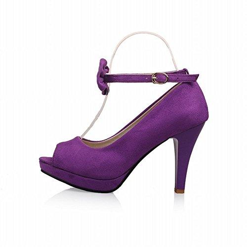 Charme Voet Dames Platform Hoge Hak Peep Toe Mary Jane Pumps Schoenen Paars
