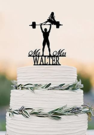 Weight Lifting Bride Silhouette With Mr Mrs Last Name Wedding Cake