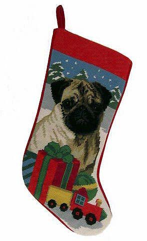 Pug Christmas Stocking 100% Wool Hand-Stiched Needlpoint: (Pug Christmas Stocking)