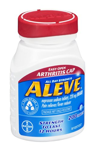 - Aleve Easy Open Arthritis Cap Pain Reliever/Fever Reducer Tablets , 200 CT (Pack of 4)