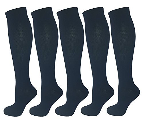 5 Pair Navy Blue Large/X-Large Compression Socks, Moderate/Medium Compression 15-20 mmHg. Running, Nurses, Travel & Flight Knee-High Socks. Womens Shoe Sizes 10-14, Mens Sizes 9-13 -  Swell Relief, 3843-3437