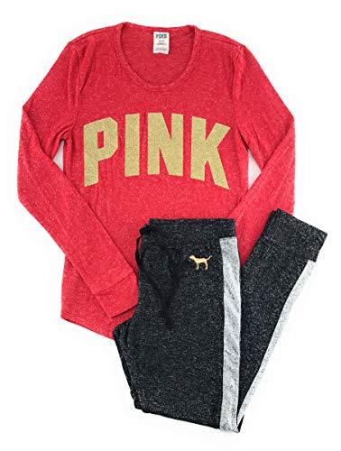 Victoria's Secret Pink Pajama Set Large Red Gold Logo/Dark Gray Gold Dog