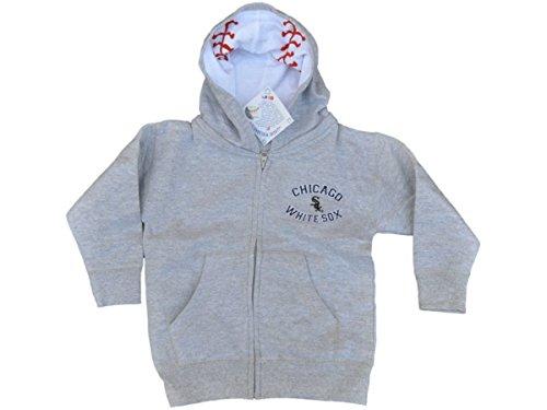 Chicago White Sox SAAG Toddler Light Gray BW Logo Zip Up Hoodie Jacket (4T) (Chicago White Sox Light)