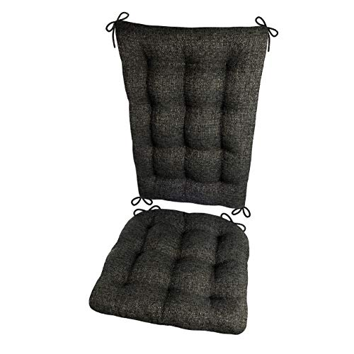 Barnett Products Brisbane Charcoal Black Rocking Chair Cushion Set - Extra-Large - Latex Foam Filled Seat Pad & Back Rest - Reversible - Machine Washable (Presidential)