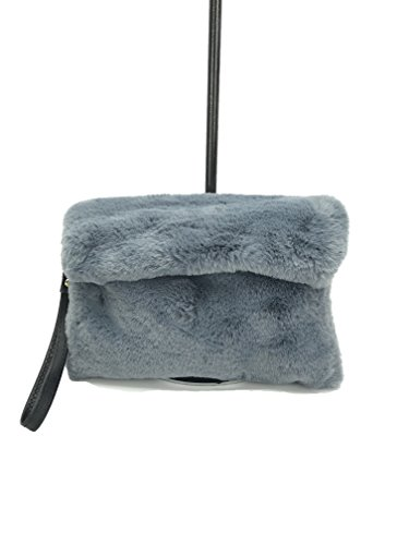 fur with solid clutch series faux bag ABIGAIL pocket color GoodCape evening Grey zipper HtOqE