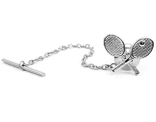 Fathers Day Gift Mens Tennis Rackets Novelty Tie Tack Pin for Tennis Players (Silver Finish)
