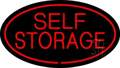 Self Storage Oval Red Outdoor Neon Sign 17'' Tall x 30'' Wide x 3.5'' Deep by The Sign Store