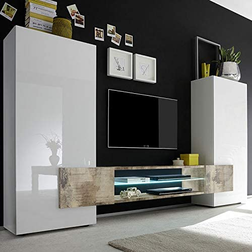 Mueble TV Pared Color Blanco Color Madera Luxor 3, Blanco, Sans ...
