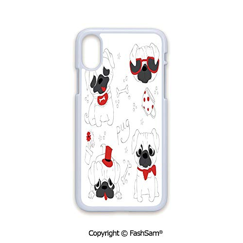Phone Case Compatible with iPhone X Black Edge Dogs in Various States Sad Happy Cool Excited Dog Bone Dotted Mug Caricature Style Decorative 2D Print Hard Plastic Phone Case