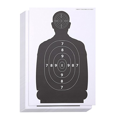 Juvale 50-Sheet Paper Silhouette Range Shooting Targets for Firearms, Rifles, Pistols, BB Guns, Airsoft, 17 x 25 -