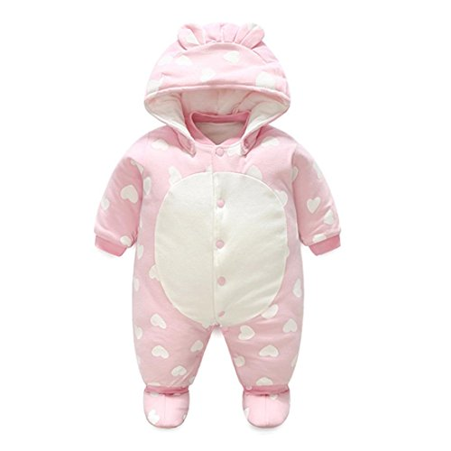0-12 Months Newborn Baby Boys Girls Warm Cartoon Hoodie Rompers Outfits Clothes (9Months, Pink)