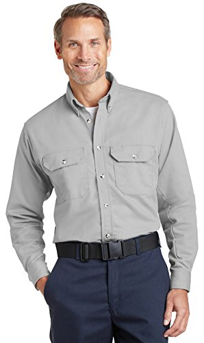 (Bulwark Mens EXCEL FR ComforTouch Dress Uniform Shirt, M, Silver Grey)