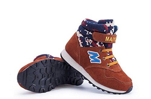 Ohmais Kinder Mädchen Junge Halbschuhe Stiefel und Stiefeletten klassische kleines Mädchen Schuh Brun