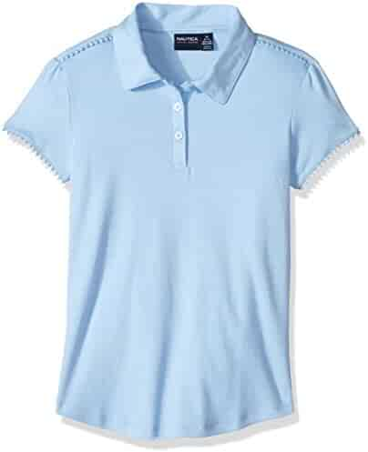 Nautica Girls' Short Sleeve Interlock Polo