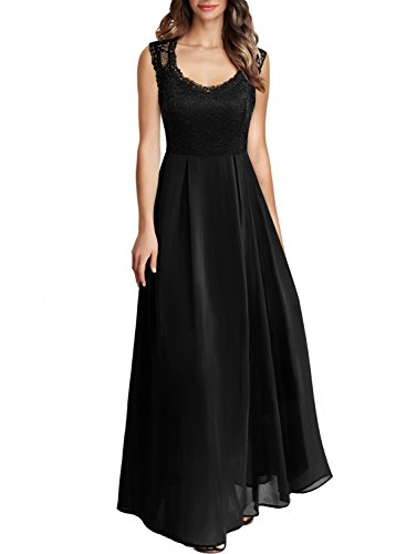 Arolina Women's Formal Floral Lace Vintage Wedding Evening Party Dresses (Black,XX-Large)