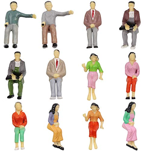 P25S 12pcs All Seated 1:25 Painted Passengers Figures G Scale Person for Model Railway Trains ()