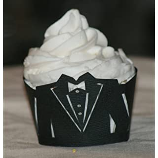 All About Details Black Tuxedo Cupcake Wrappers, Set of 12, 10 x 4 x 4