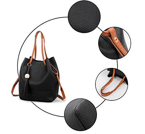 Fashion Card Fashion Fashion Oblique piece Suit Leather Four Portable Pendant Shoulder Package Bags Blue Lxyiun Blue Hand Bag Women Tassel Pu azZqOq