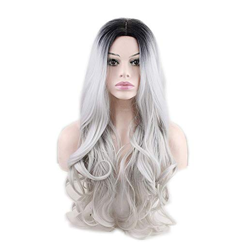 lightclub 22inch Women Long Curly Weavy Heat Resistant Gradient Color Black to Gery Silver Center Central Parting Hair Wig Hairpiece Cosplay Prop ()