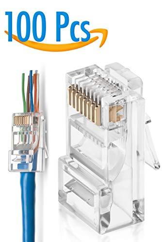 (GTZ RJ45 Cat5/5e Pass Through Connectors Pack of 100 | EZ Crimp Connector Network Plug for Unshielded Twisted Pair Solid Wire & Standard Cables | Transparent Passthrough Ethernet Insert)