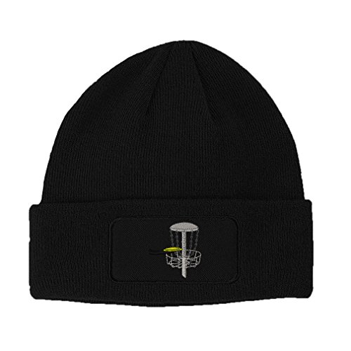 Speedy Pros Disc Golf Embroidered Unisex Adult Acrylic Patch Beanie Warm Hat - Black, One Size -