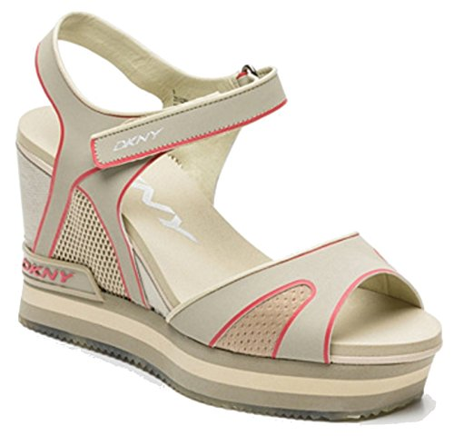 DKNY Fashion Sandals INES Sport Mold Mesh Platform Wedge Heels Womens' Sports Sandals Beige Light Chino 275