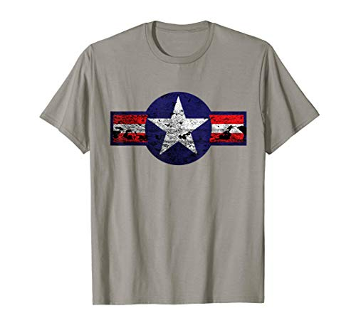 Vintage WW2 Aircraft Battle Star Aviator T-Shirt. Novelty ()