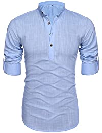 Mens Thin Henley Button-down Slim Fit Rollup Sleeve Shirt