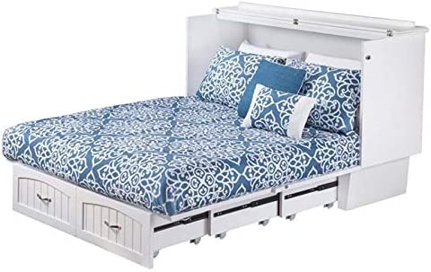 Amazon Com Bowery Hill Queen Murphy Bed Chest With Charging Station And Folding Mattress In White Kitchen Dining