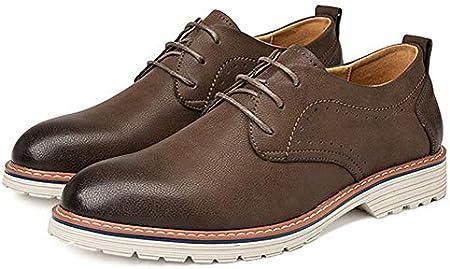 TAZAN Derby hombres de negocios zapatos de vestir, zapatos de cuero de charol con cordones Up Brogues smoking de la boda Oxford Zapatos para hombres de cuero Negro Marrón Gris 38-44
