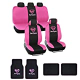 Warner Brothers Supergirl Seat Cover & Floor Mat for Car - Universal Fit Auto Accessories w/ Belt Pad, Steering Cover