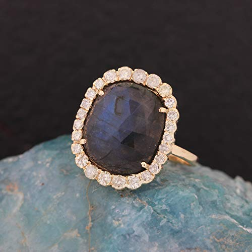 Genuine 4.50 Ct. Labradorite Gemstone Cocktail Ring Diamond Wedding Jewelry Solid 14k Yellow Gold Handmade Fine Jewelry Christmas Day Gift For Her