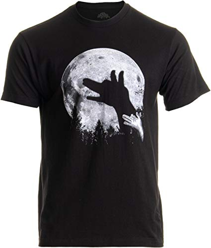 Wolf Shadow Puppet | Unique Moon Outdoor Hike Camp Funny Fun Men Women T-Shirt-(Adult,XL) Black